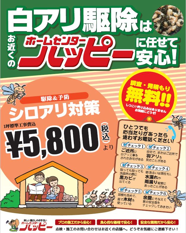 【ホームセンターハッピー】白アリ駆除取扱いしております!